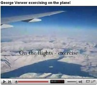 George Verwer exercising on the plane!