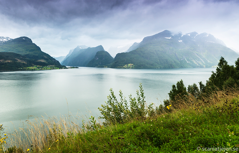 norway fjords mountains between lote and nordfjordeid