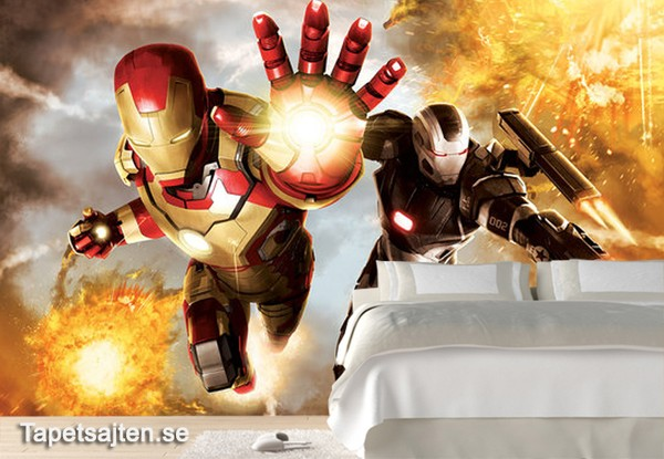 Marvel Tapet Iron Man Flying Avengers Fototapet Barnrum Superhjältar Tapet Barntapet