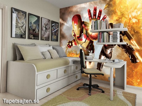 marvel tapeter ironman killrum pojktapet fototapet