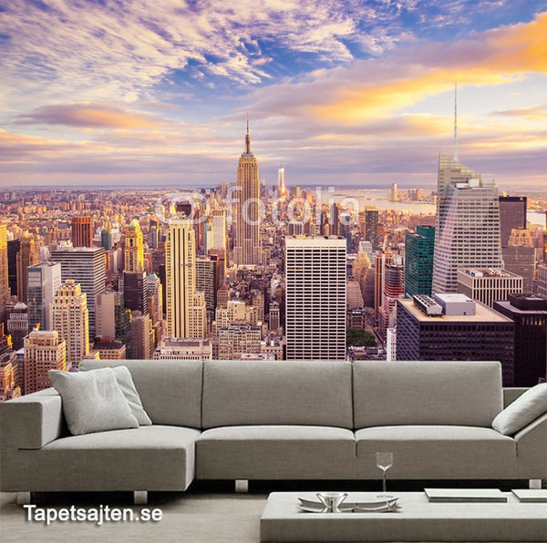 New York Tapet med New York Motiv tapet new york skyline manhattan skyskrapor stad utsikt fototapet vardagsrum 3d