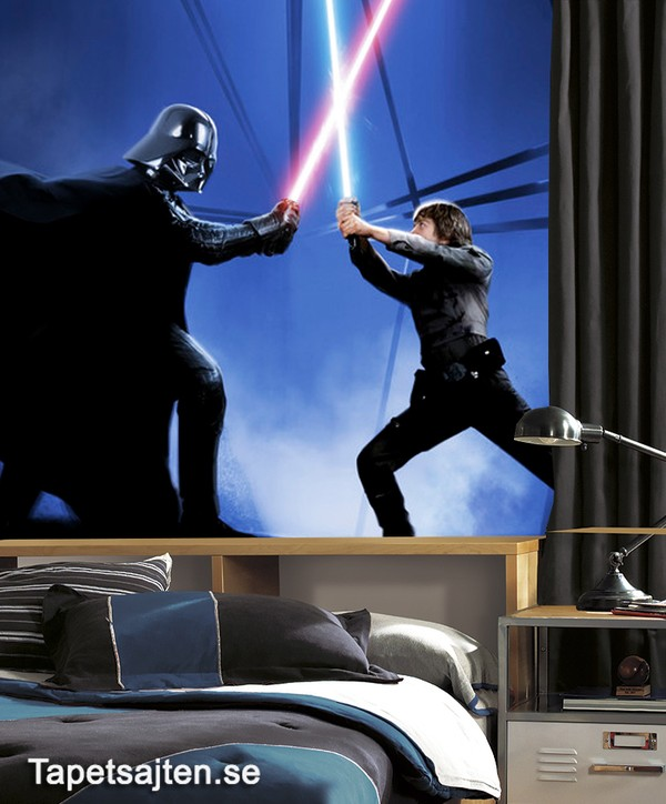 Star Wars Tapet Luke Skywalker Vs Darth Vader Barntapet Fototapet Barn Ungdomstapet
