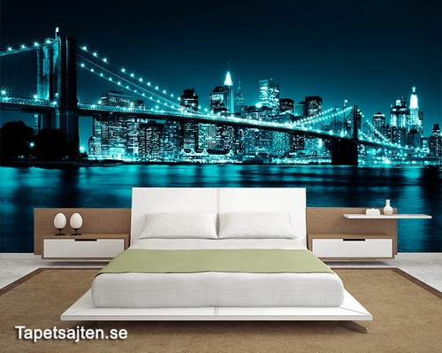 tapet New York Fototapet Brooklyn Bridge skyline natt sovrum