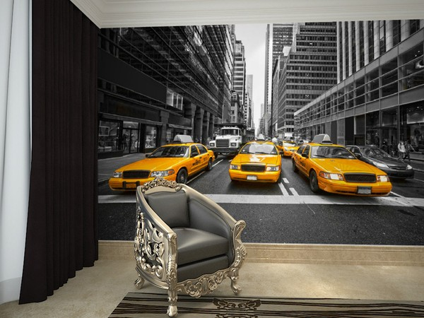 tapet New York taxi bilar manhattan Fototapet New York