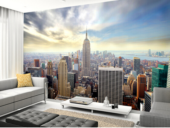 new york tapet Fototapet New York manhattan skyline skyskrapor stad view 3d fototapet vardagsrum