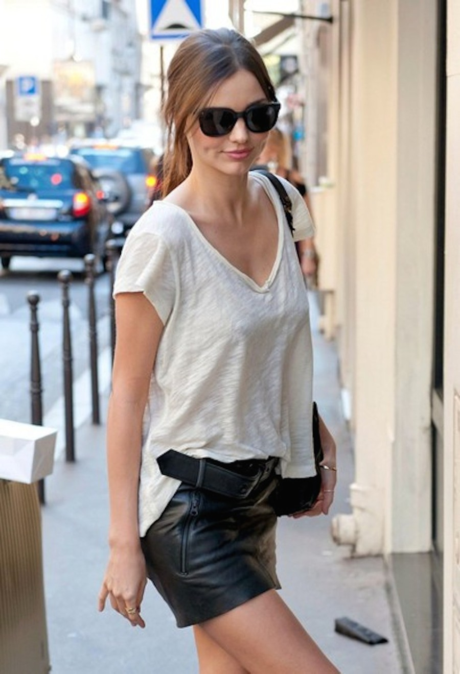 miranda kerr tshirt leather skirt