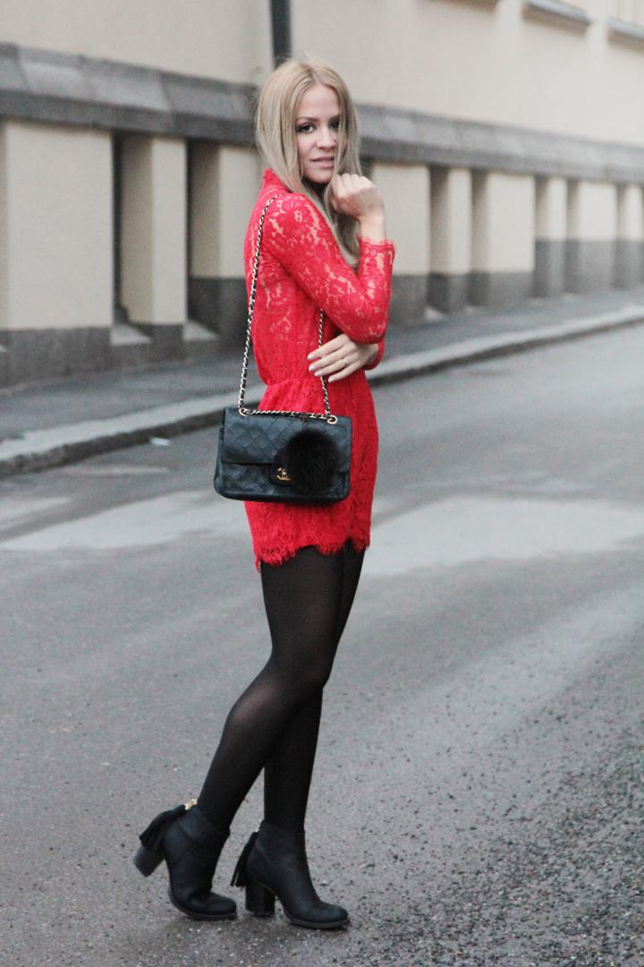 christmas outfit inspiration red lace jumpsuit