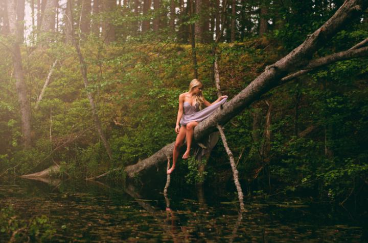 fashion photoshoot in the woods