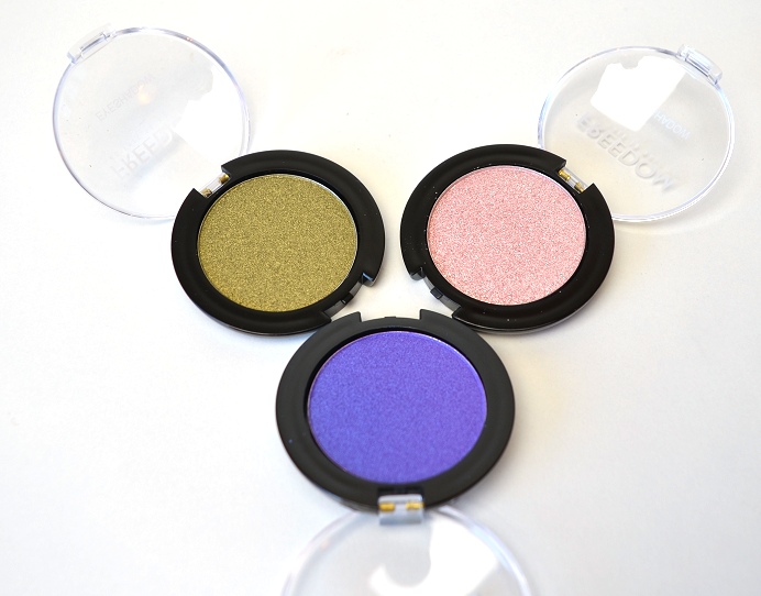 freedom makeup mono eyeshadow gilded brights swatches