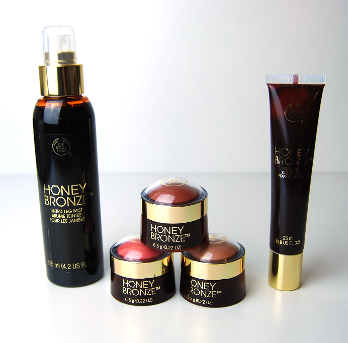 the body shop honey bronze tinted leg mist highlighting dome face gel