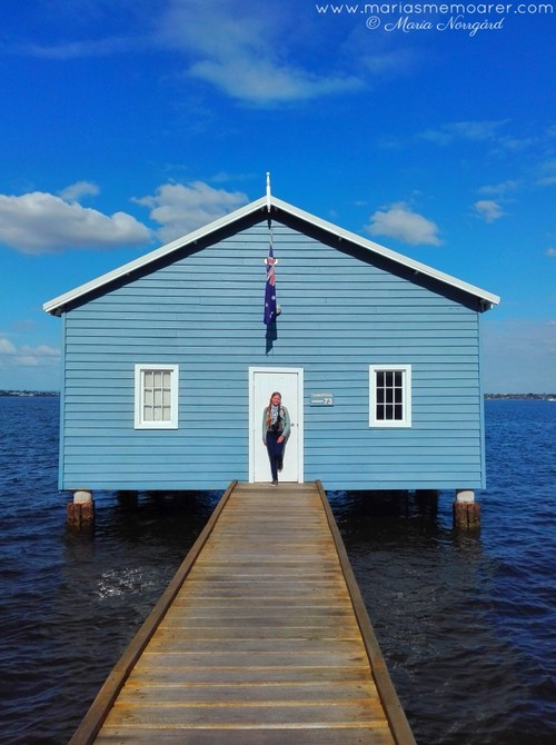Perth Crawley Edge Boatshed / The Blue Boat House - fotovänlig turistattraktion i Perth, Australien