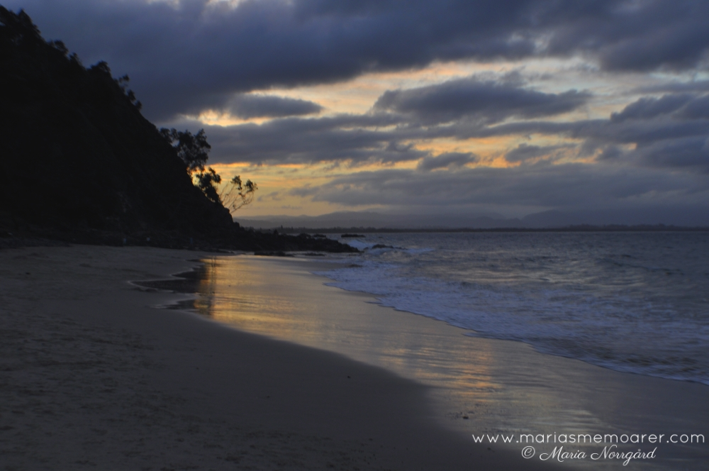 sunset at beach on Cape Byron, NSW, Australia