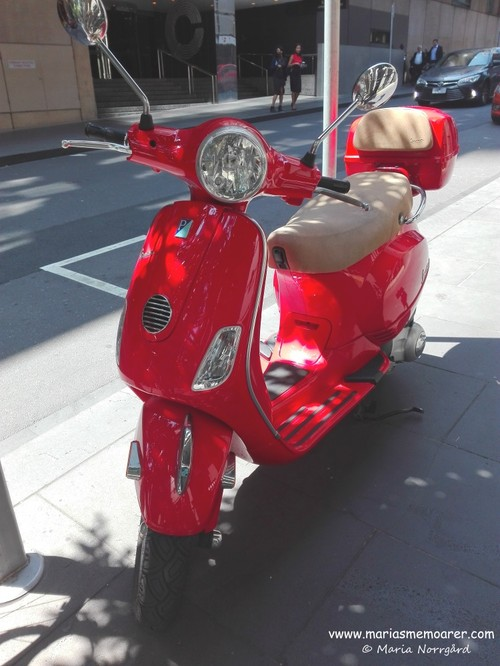 a nice red vespa in Melbourne CBD