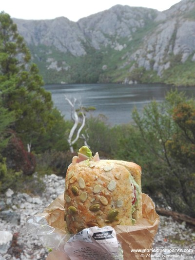having lunch at Crater Lake in Cradle Mountain, Tasmania