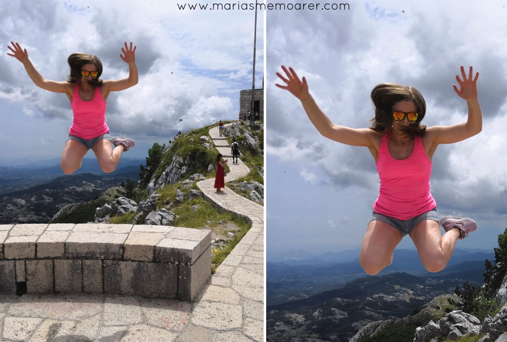 famous jumping photo at mausoleum, Montenegro