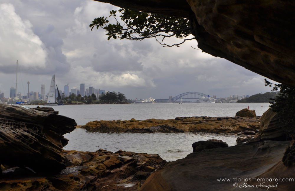 View of Sydney Opera House and Harbour Bridge from Hermitage Foreshore Track, Australia