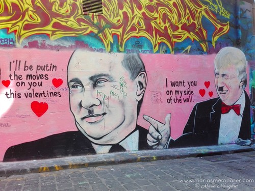 political street art in Melbourne - Putin and Trump