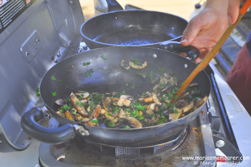 cooking while camping in Tasmania