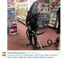 a alien in a video game store