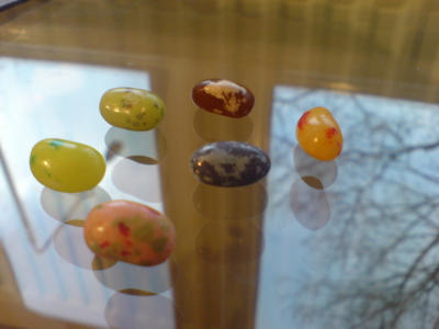 Jelly beans on glass table