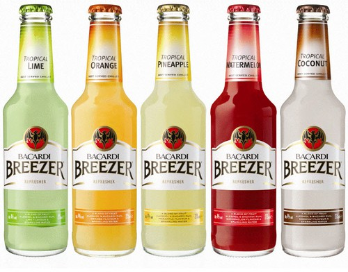 Bacardi Breezer Mango  Bacardi Breezer Orange  Bacardi Breezer Cranberry  Bacardi Breezer Watermelon  Bacardi Breezer Lime  Bacardi Breezer Pineapple  Bacardi Breezer Lemon  Bacardi Breezer Raspberry  Bacardi Breezer Blueberry  Bacardi Breezer Cocanut