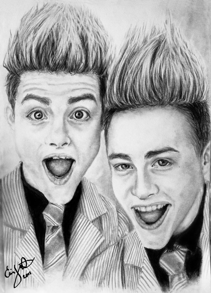 jedward, john, edward, grimes, drawing, tecknat, art, portrait, black and white, ritat