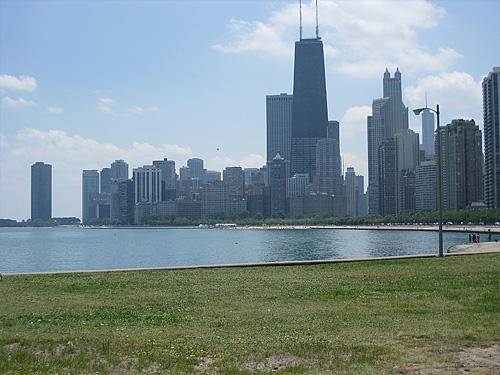 The Chicago skyline from the beach.