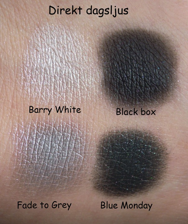 Sleek me, myself & eye palett, barry white, fade to grey, black box, blue monday, swatches