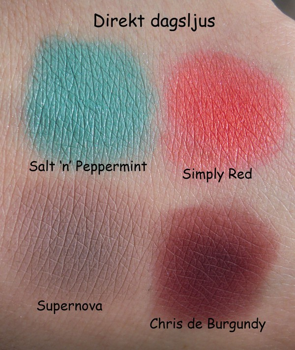 Sleek me, myself & eye palett, salt 'n' peppermint, supernova, simply red, chris de burgundy, swatches