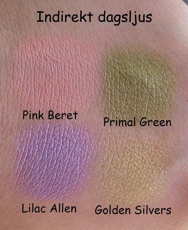 Sleek me, myself & eye palett, pink beret, lilac allen, primal green, golden silvers, swatches