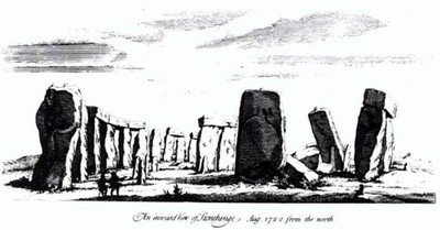 En teckning av Stonehenge från William Stukeleys bok Stonehenge, A Temple Restor'd to the British Druids, anno 1740.