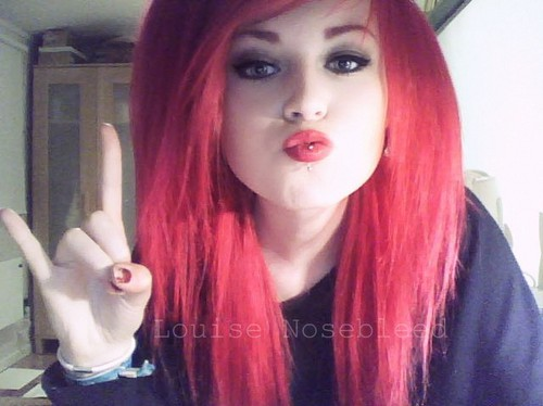 epicwaste louise Nosebleed red hair red lips vertical labret piercing swedish girl emo hipster cute rock'n roll
