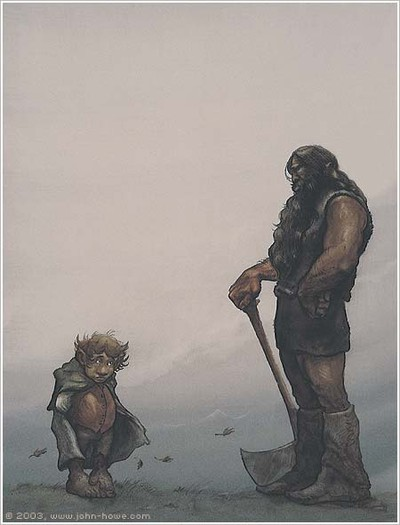 Illustration,. Beorn och Bilbo av John Howes