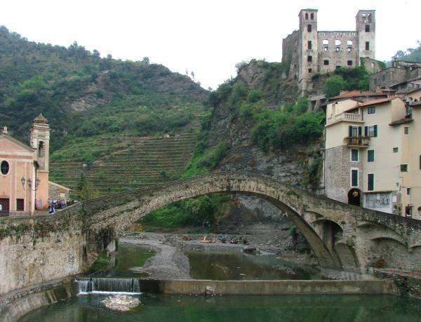 Ancient stone bridge in Dolceaqua, Liguria, Italy