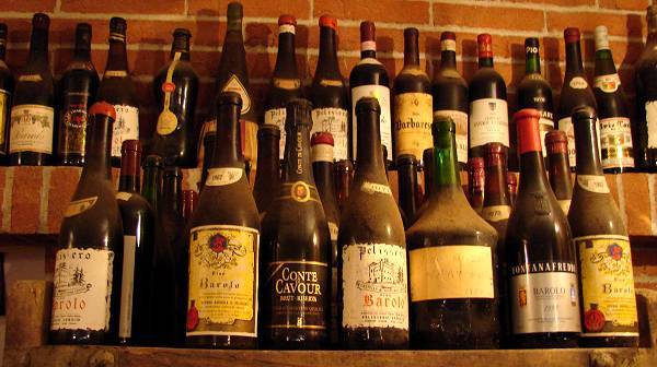 Old wine bottles in store for future family celebrations