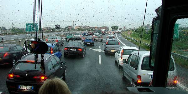 Traffic jam at highway into Torino