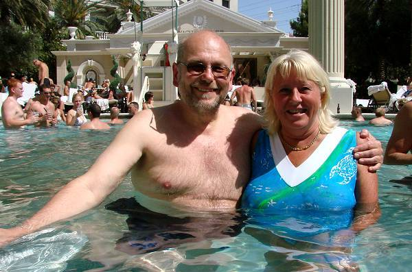 Peter and bosses wife Kicki in pool
