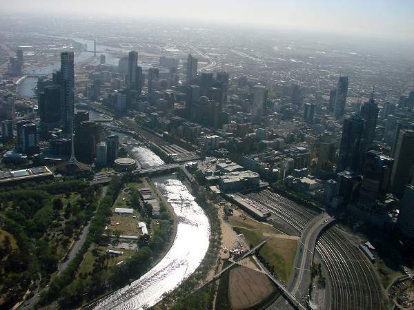 Air view of Melbourne and Yarra River
