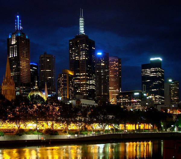 Night skyline at Yarra River