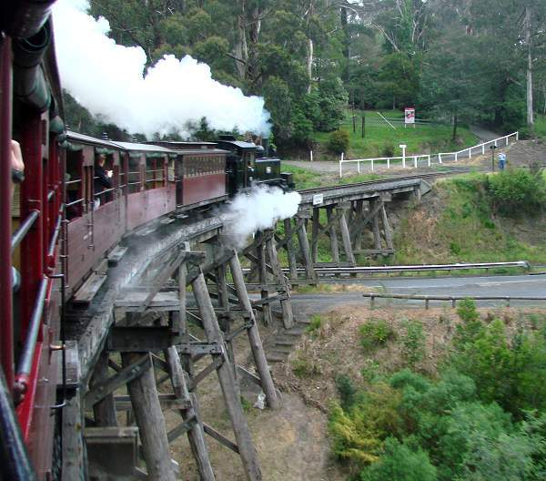 Puffing Billy on track over bridge
