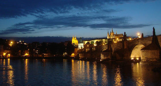 Charles Bridge after sunset