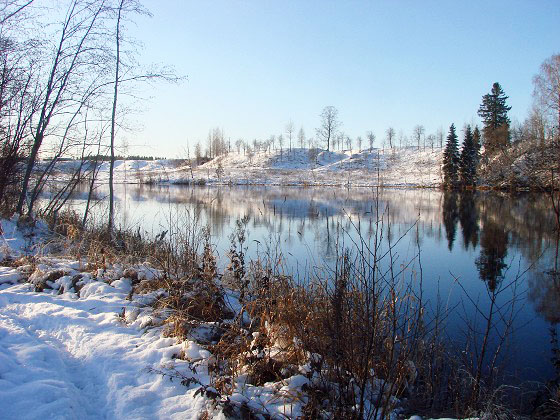 Dalälven between snowy banks