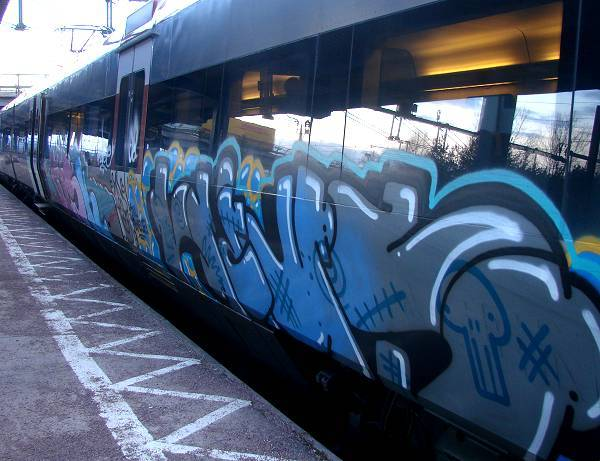 Graffiti smeared Regina train