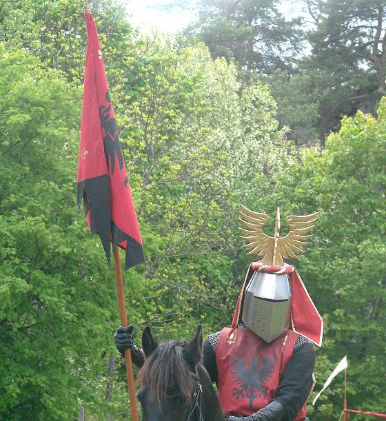Knight at medieval market in Leksand