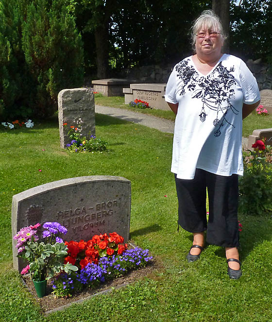 Eva at her grandparents grave