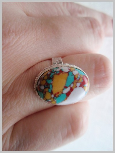 Marmorerad Turkos ring