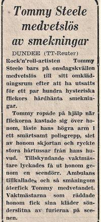 Tommy Steele medvetslös
